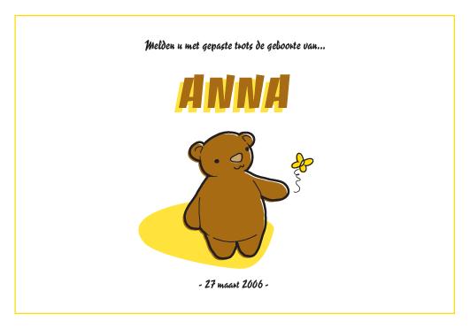 melden met gepaste trots de geboorte van Anna